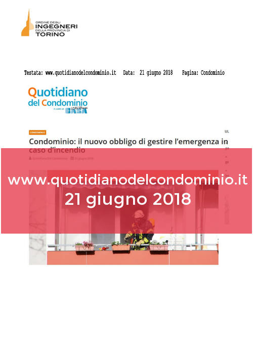 www.quotidianodelcondominio.it del 21 giugno